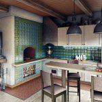Дизайн кухни с печью