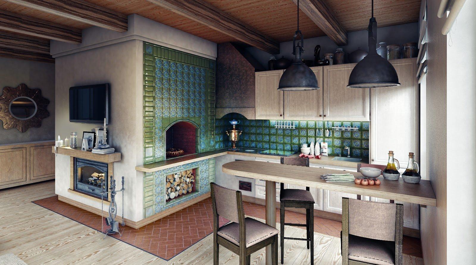 Дизайн кухонь с печками 26