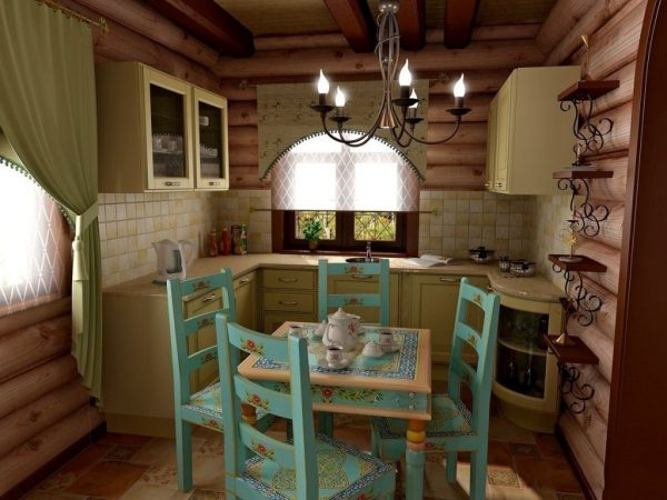 Интерьер маленькой кухни в деревянном доме