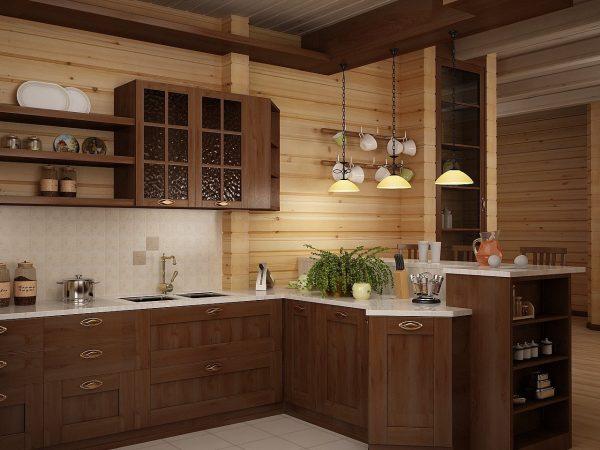 Темная мебель в интерьере кухни