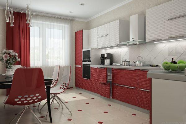 Прямые красные шторы с белой тюлью на кухню