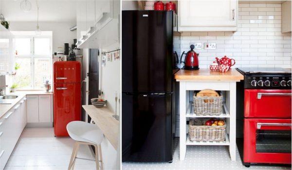 декор на чёрно-красной кухне