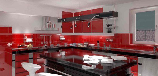 красная с чёрным кухня