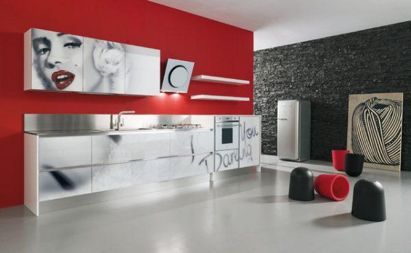чёрно-красная кухня в стиле модерн