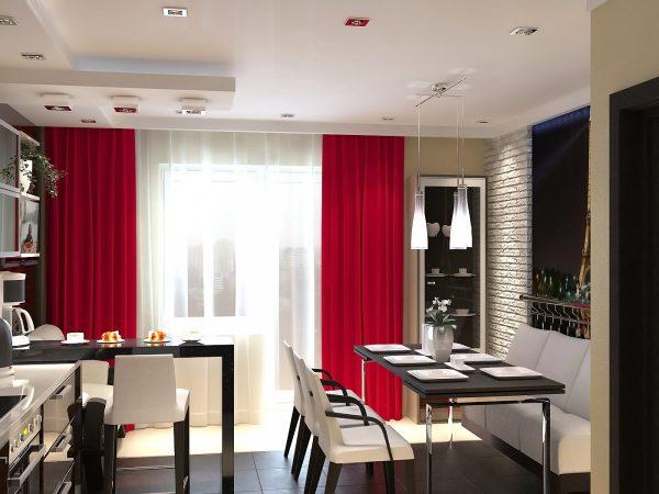чёрно-красная кухня с красными шторами