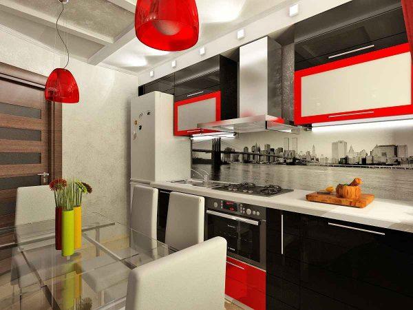 чёрно-красная кухня с красными светильниками