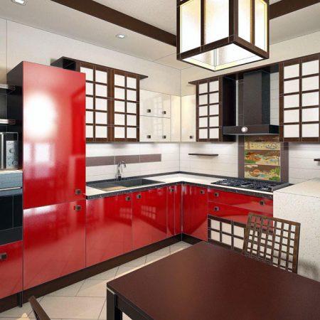 чёрно-красная кухня в японском стиле