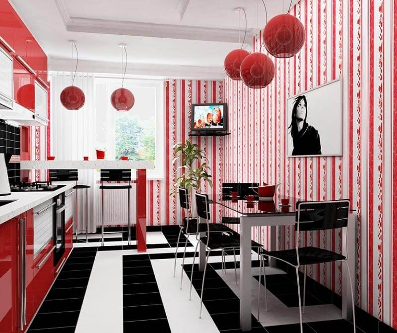 Кухня белая с красным дизайн