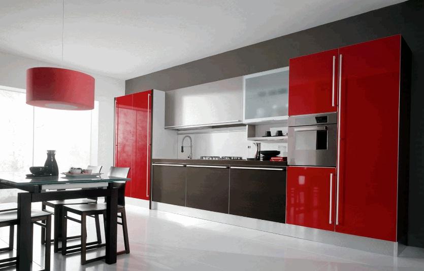 кухня в чёрном и красном цвете