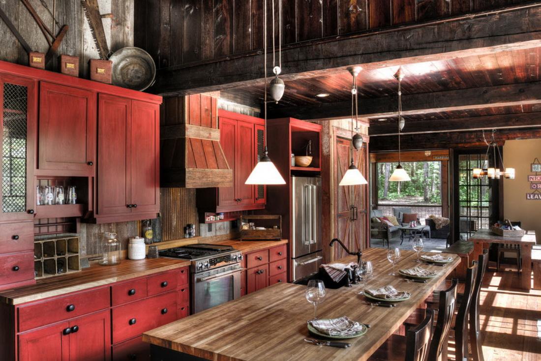 кантри на чёрно-красной кухне