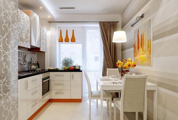 Дизайн кухни 13 кв.м.с диваном