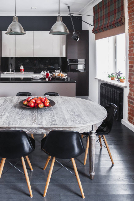 дизайн чёрно-белой кухни 15 кв. метров 2017 года