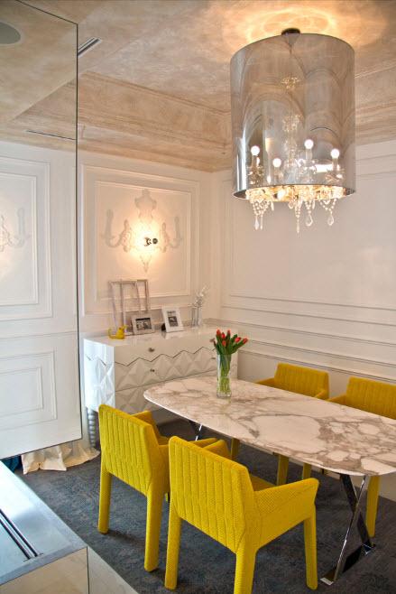 дизайн кухни 15 кв. метров 2017 года с мрамором