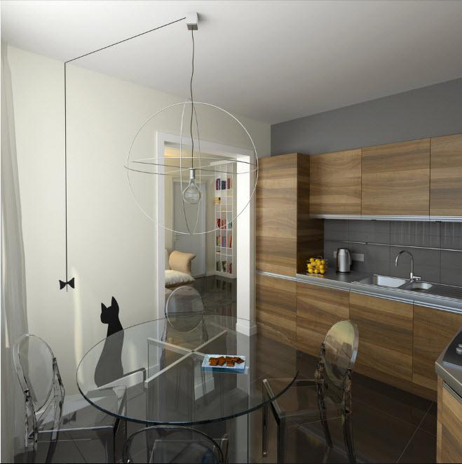 дизайн деревянной кухни 15 кв. метров 2017 года
