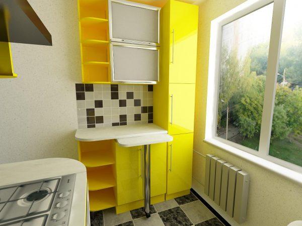 жёлтая кухня 5 кв.метров
