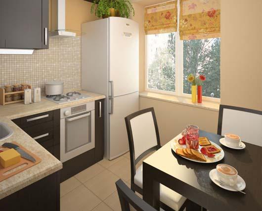 кухня 5 кв.метров в хрущёвке с холодильником у окна
