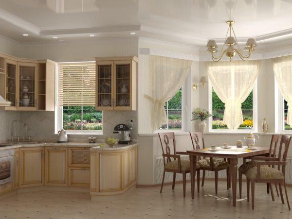 кухня гостиная экономкласса в частном доме