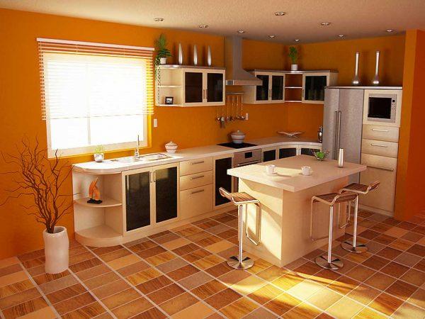 жёлтая кухня экономкласса в частном доме