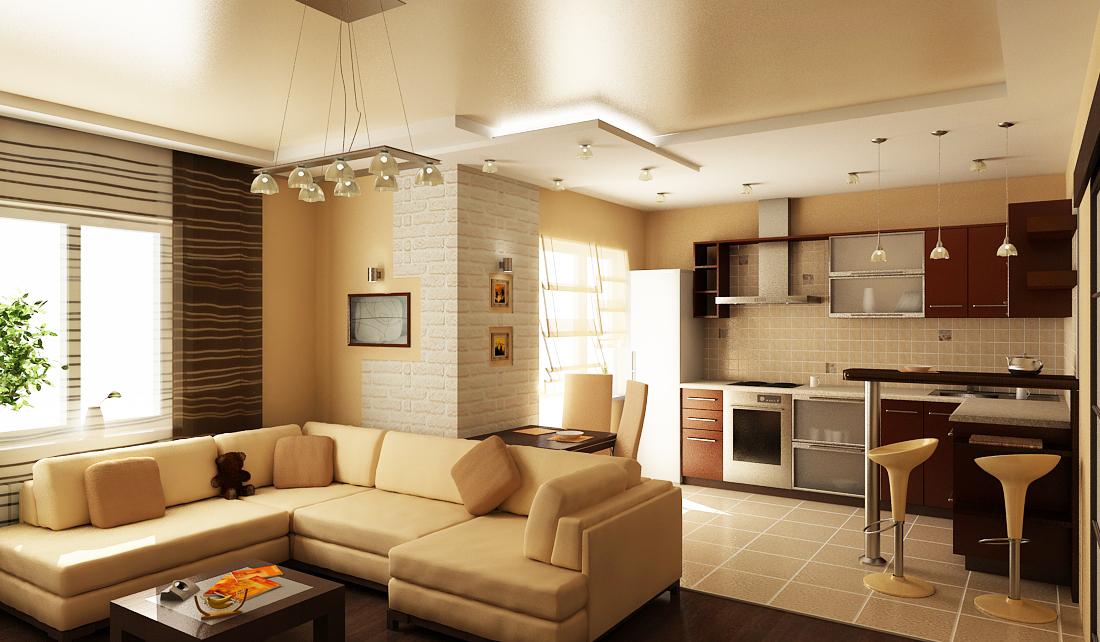 Кухня студия с гостиной дизайн