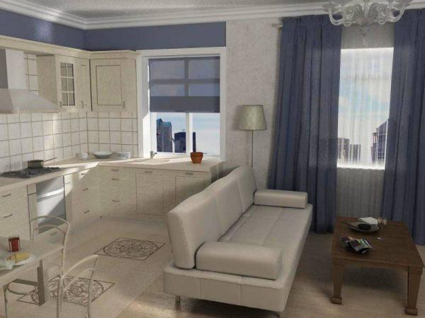 бежево-голубая кухня гостиная в квартире студио