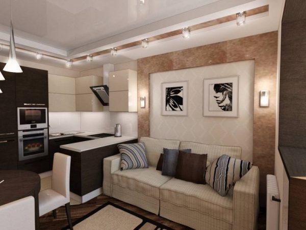 коричневая кухня гостиная в квартире студио