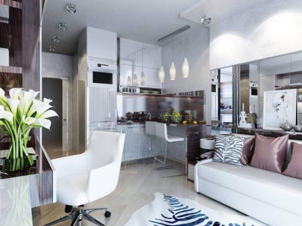 сиреневая кухня гостиная в квартире студио