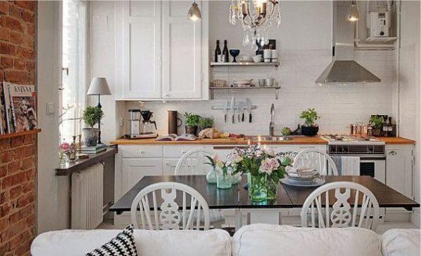 белая кухня гостиная в квартире студио