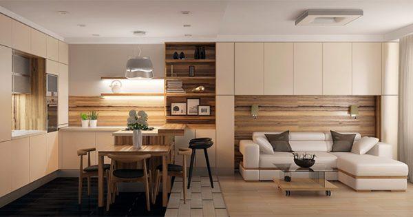 бежевая кухня гостиная в квартире студио