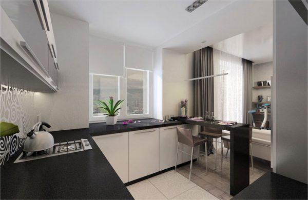 кухня гостиная в квартире студио с чёрной столешницей