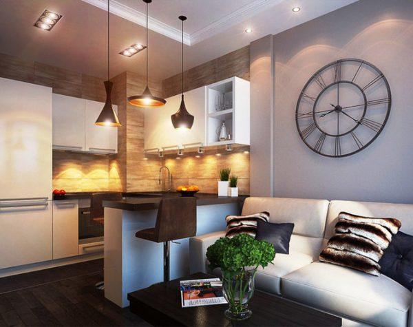 кухня гостиная в квартире студио в стиле минимализма