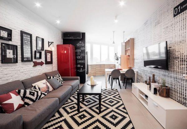 кухня гостиная в квартире студио с красным холодильником