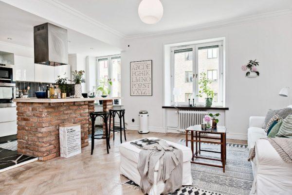 светлая кухня гостиная в квартире студио