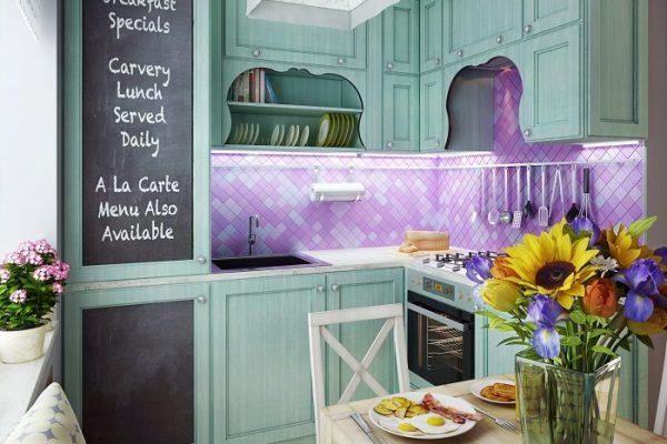 Кухня в стиле прованс голубая