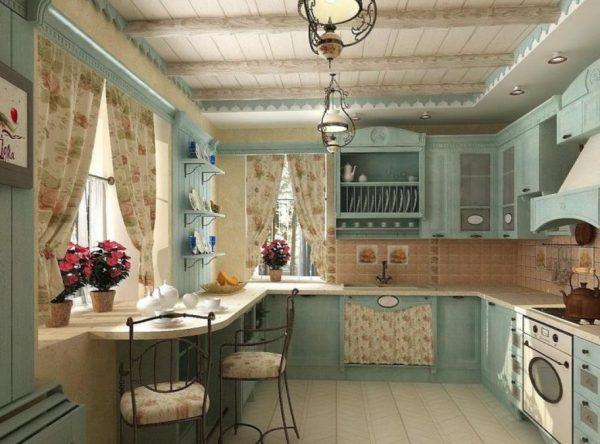 """кухня в стиле """"прованс"""" потолок"""