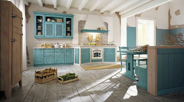 пол на кухне прованс деревянный