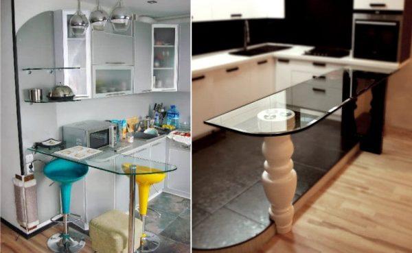 Угловая кухня с барной стойкой из закалённого стекла