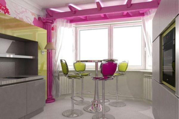 столик в эркере на кухне
