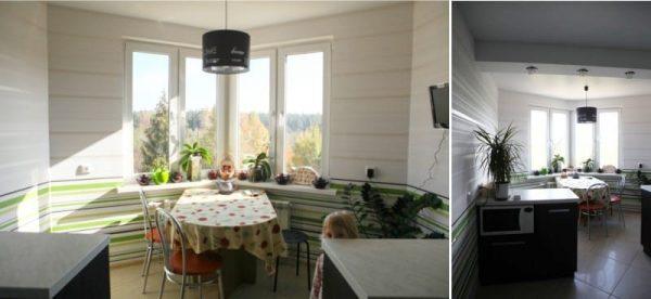 стол в эркере на кухне