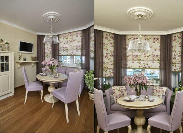 фиолетовая кухня с эркером