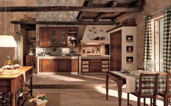 """кухня в стиле """"шале"""" потолок"""