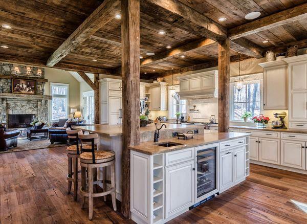 деревянная кухня в стиле шале