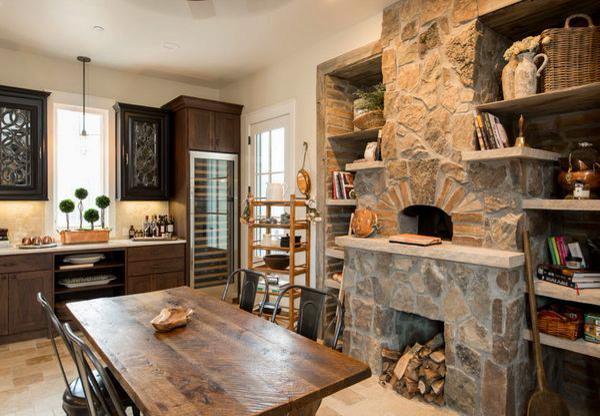 камень на кухне в стиле шале