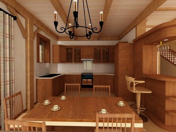 коричневая кухня в стиле шале