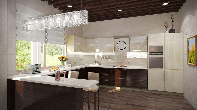 Дизайн кухни в частном доме цены