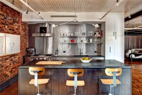 островная кухня в стиле лофт