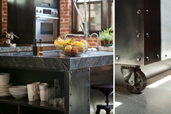 стол на кухне в стиле лофт