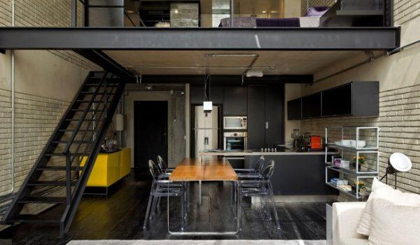 двухуровневая кухня в стиле лофт