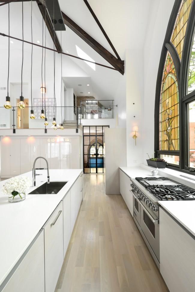 витраж на кухне в стиле лофт