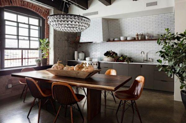 люстра на кухне в стиле лофт