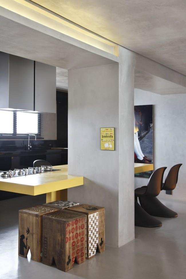 бетонные стены на кухне в стиле лофт